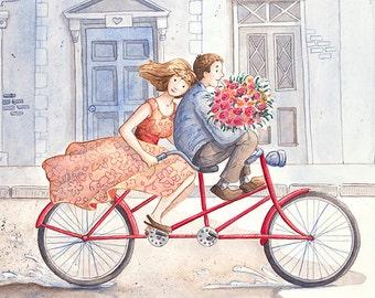 Gather Ye Rosebuds: Fine Art Print - Home Decor - Roses - Bicycle - London - 5 x 7