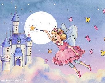 The Fairy Castle: Nursery Art Print - Children's Art - Girl's Room - Home Decor - Fairy - Moon - Castle - 5 X 7