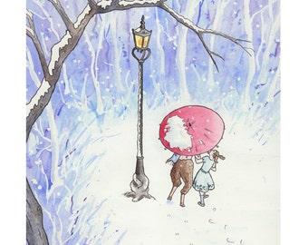 Narnia Lamp Post: Nursery Art Print - Children's Art  - Home Decor - Forest - Snow  - 8 X 10