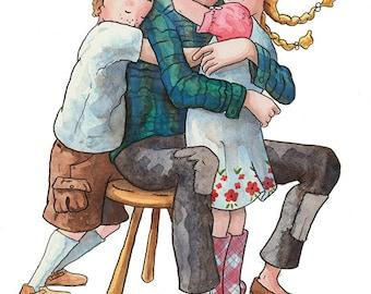 Daddy Loves Me:  Nursery Art Print - Children's Art  - Home Decor - Father - Family - Hug - 8 X 10