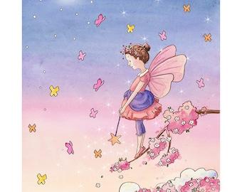 The Evening Star Fairy:  Nursery Art Print - Children's Art - Girl's Room - Home Decor - Fairy - Stars - Butterflies - 5 X 7