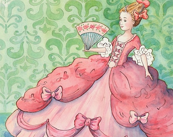 The Pink of Perfection: Fine art print, illustration, Marie Antoinette, Ball Gown, Pink, Green, 8 x 10