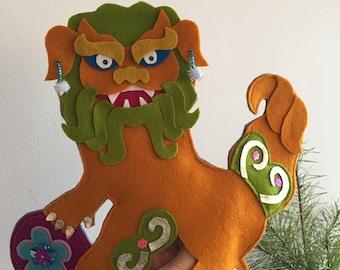 Handmade Foo Dog Tree Topper, Chinoiserie Holidays, Foo Lion Christmas Tree topper
