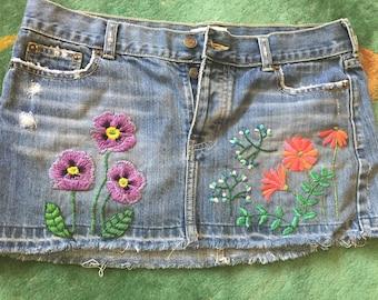 Hand Embroidered Botanical  Denim Skirt, Boho, Festival Floral Jean Mini Skirt