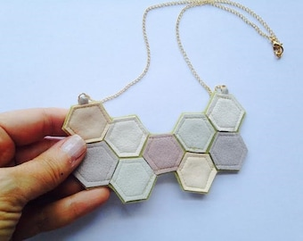 Geometric Ultra Suede and Felt Honeycomb Necklace / Hexagon Necklace