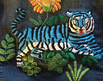 Hand Embroidered Blue Tiger Jean Jacket, Large size Women's Denim Embroidered