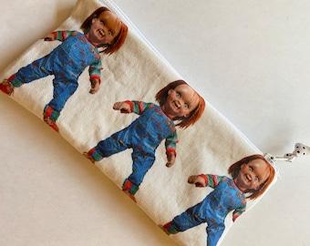 Chucky Print Eyeglass Case, Linen Zipper Bag with Good Guy Doll