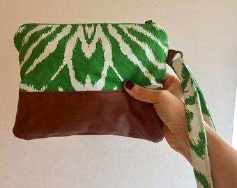 Handmade Green Zebra Print Clutch,  Linen and Saddle Leather, Fun Disco Bag, Evening Purse, Vacation Carryall