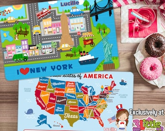 New York Placemat - United States Map Placemat- Personalized placemat for kids - Laminated Double-sided placemat - Kids Activity Placemat