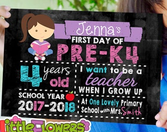Personalized First Day of School Sign - Printable First Day of School Chalkboard Sign - First of ANY GRADE sign - Back to School Sign
