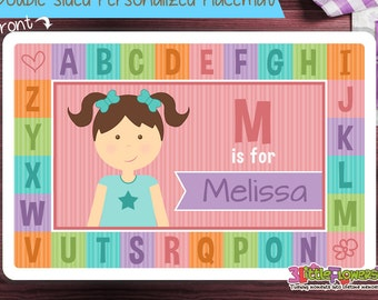 Little Me Alphabet Placemat - Personalized placemat for kids - Laminated Custom Double-sided placemat - Activity Placemat for Children