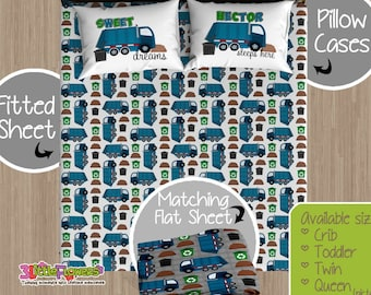 Greatest Garbage Truck Custom Fitted and Flat Sheets Kids Bed Sheets JW62