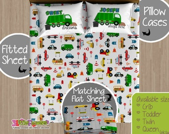 Unique Garbage Truck Custom Fitted and Flat Sheets Kids Bed Sheets TZ56