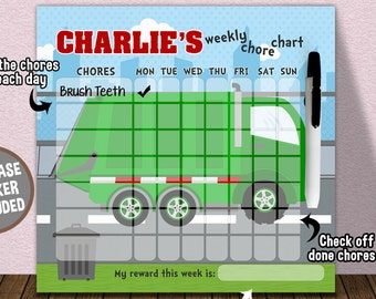 Personalized Garbage Truck Dry Erase Chore Chart - Children Dry Erase Chore Chart - Weekly Responsibility Chart - Trash Truck Bedroom Decor