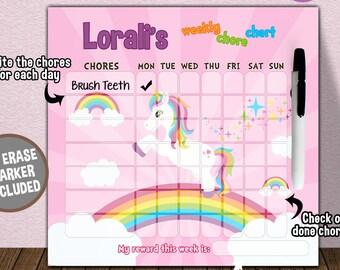Unicorn Personalized Dry Erase Chore Chart - Children's Dry Erase Chore Chart - Dry Erase Weekly Responsibility Chart - Unicorn Bedroom