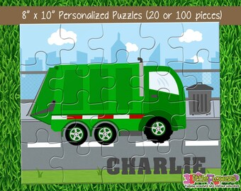 812d4693dea5 Personalized Garbage Truck Puzzle - Personalized 8 x 10