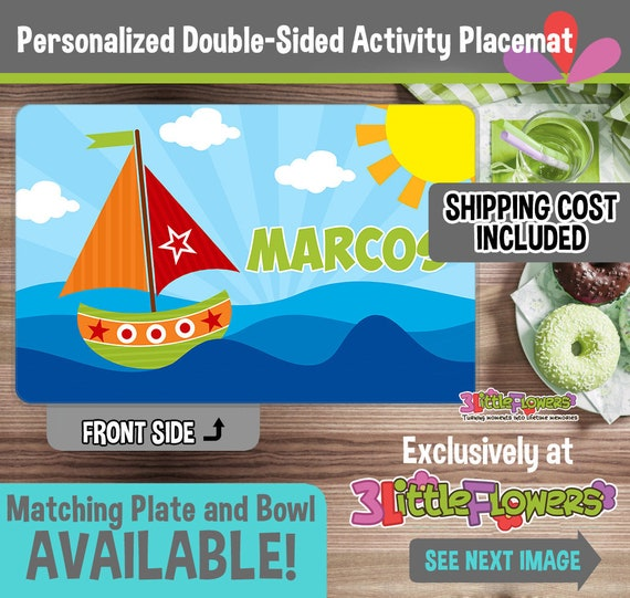Personalized Plastic Children Plate and Cereal Bowl Personalized Sailboat Plate and Bowl Set Nautical Plate Kids Dishes for Mealtime