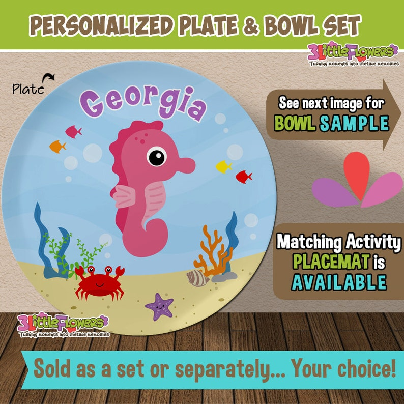 Personalized Sea Horse Plate and Bowl Set Kids Dishes for Mealtime Personalized Plastic Children Plate and Cereal Bowl Under the sea