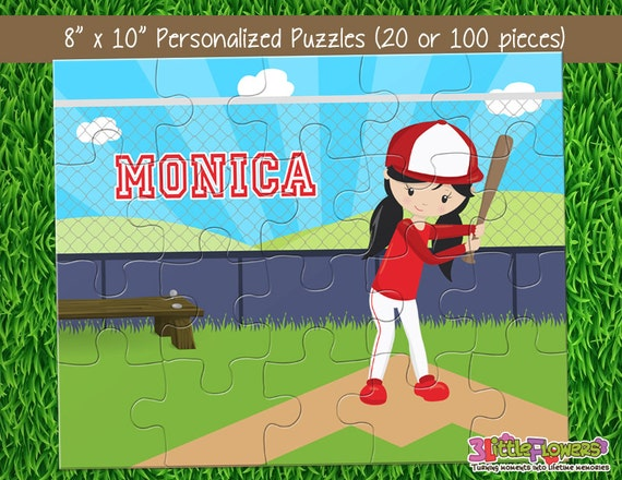 Personalized 8 x 10 Puzzle Personalized Children Puzzle Sport Puzzle 20 pieces Puzzle Baseball Puzzle Personalized Name Puzzle