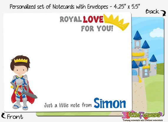 Children Stationery Kids Notecards Set of Personalized Note Cards 4.25\u201d x 5.5\u201d Princess Note Cards Double-Sided Thank you Cards