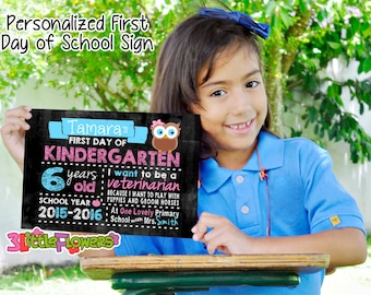 First Day of School Sign - Printable First Day of School Chalkboard Sign - First of ANY GRADE sign - Personalized Back to School Sign