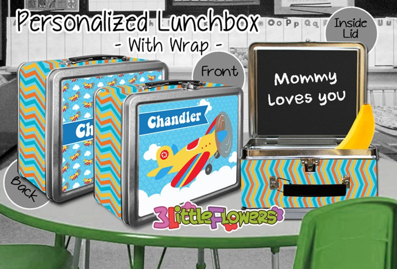 Airplane Lunchbox  Personalized Metal Lunch Box with image 0