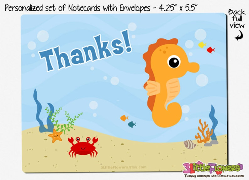 Kids Notecards Double-Sided Thank you Cards Sea Horse Note Cards Children Stationery 4.25\u201d x 5.5\u201d Set of Personalized Note Cards