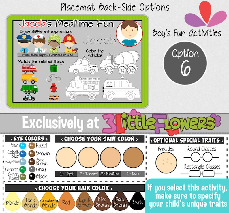 Personalized Artist Placemat Personalized placemat for kids Laminated Custom Double-sided placemat Activity Placemat for Children