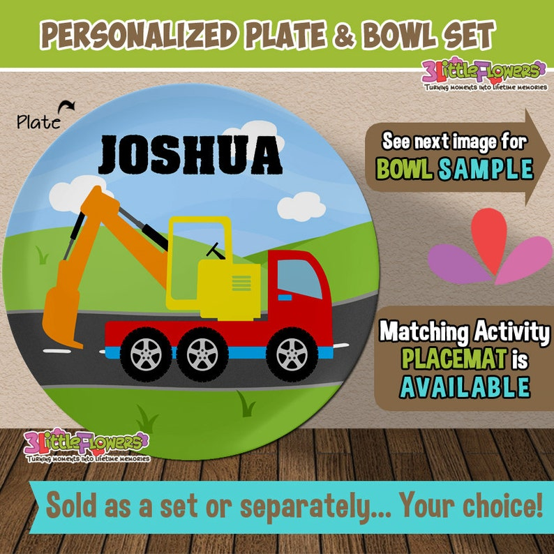 Personalized Plastic Children Plate and Cereal Bowl Construction Personalized Digger Truck Plate and Bowl Set Kids Dishes Mealtime