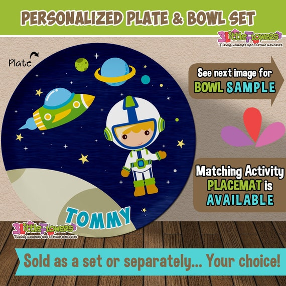 & Astronaut Plate and Bowl Set Personalized Plastic Children