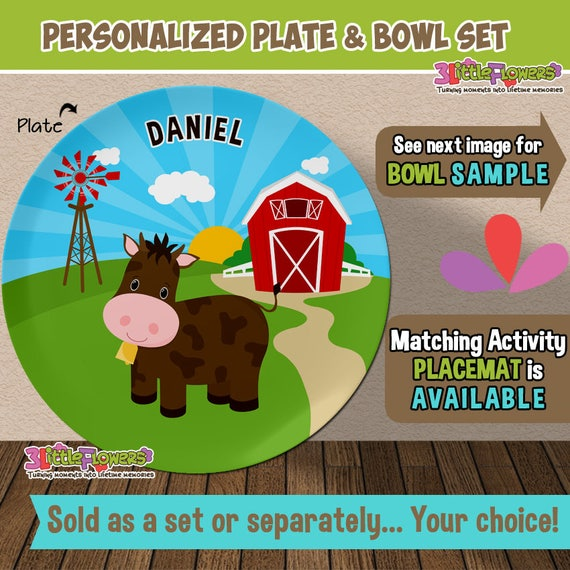 Cow Plate or Bowl Custom Personalized with Childs Name