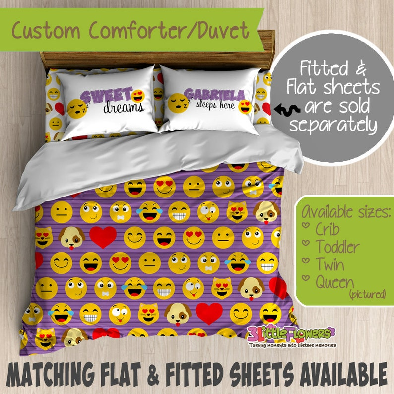 Emoji Custom Comforter Duvet Teens Comforter Teens Duvet Customized Teens Bedding Teens Pillowcase Emoticons Bedroom Decor