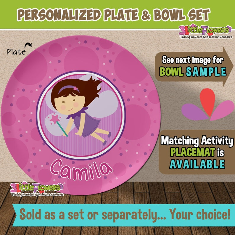 Personalized Fairy Plate and Bowl Set  Personalized Plastic image 0