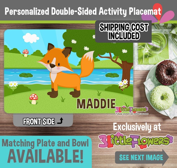 Laminated Activity Placemat Kids Double-Sided Placemat Fox Personalized Placemat for Kids Custom Placemat Name Placemat Fox Placemat