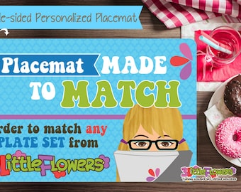 Made to Match Placemat - Personalized placemat for kids - Laminated Custom Double-sided placemat - Activity Placemat for Children