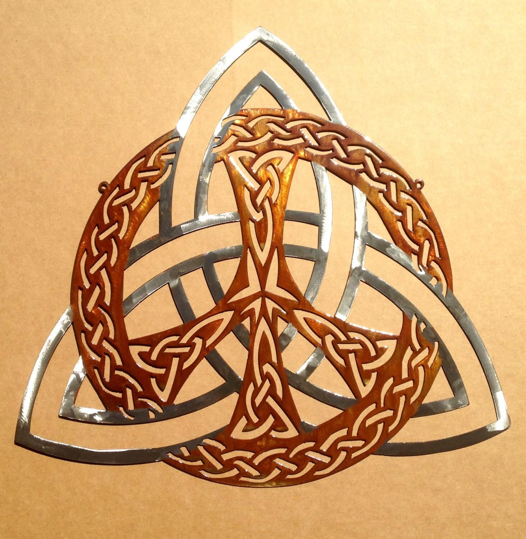 Celtic Trinity Knot Peace Sign Wall Art   Etsy