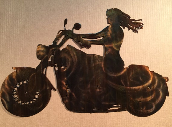 Girl Riding Motorcycle Metal Wall Art R3 | Etsy