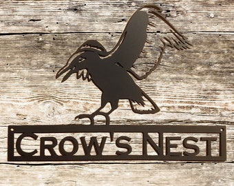 Flying Crow Metal Wall Art with Custom Text (Y13)