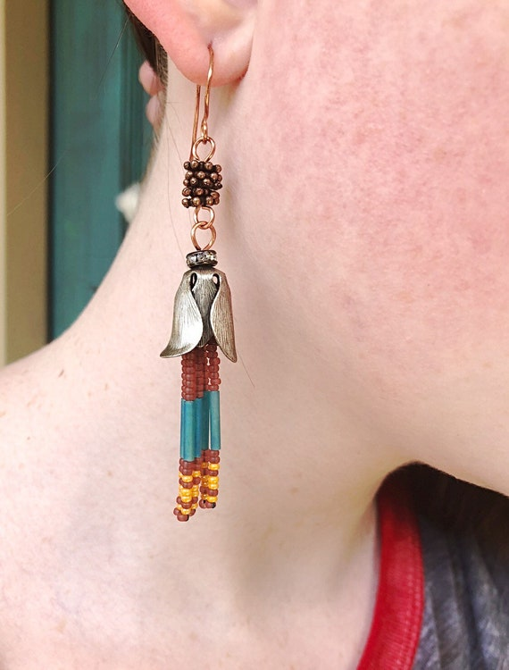 1c206095187 Cherokee Indian Sunrise Long Seed Bead Earrings by Weavers