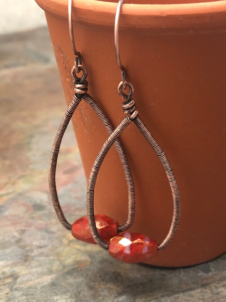 Purple Free USA Shipping Dangle Earrings Ready to Ship Speckled Weaver Roots Your Choice Czech Glass Copper Wire Wrap or Carnelian