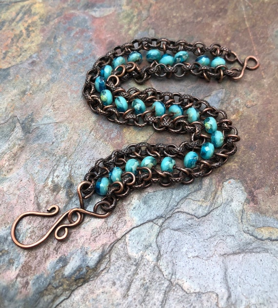 African Turquoise Beaded Bracelet with Antique Copper Toggle Clasp and Antique Copper Leaf Charm Turquoise Gemstone Bracelet for Her 663