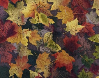 Cotton fabric Autumn Inspirations Maple Leaves Chocolate Fall Autumn Maple Leaves 3/4 Yard Excellent Fabric for Creative Genius Projects