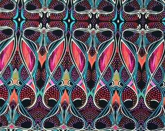 "Cotton Fabric PATTERNISTA CHORUS LINE Kaleidoscope black bright pink orange teal 18"" x 21"" Excellent Fabric for Creative Genius Projects"