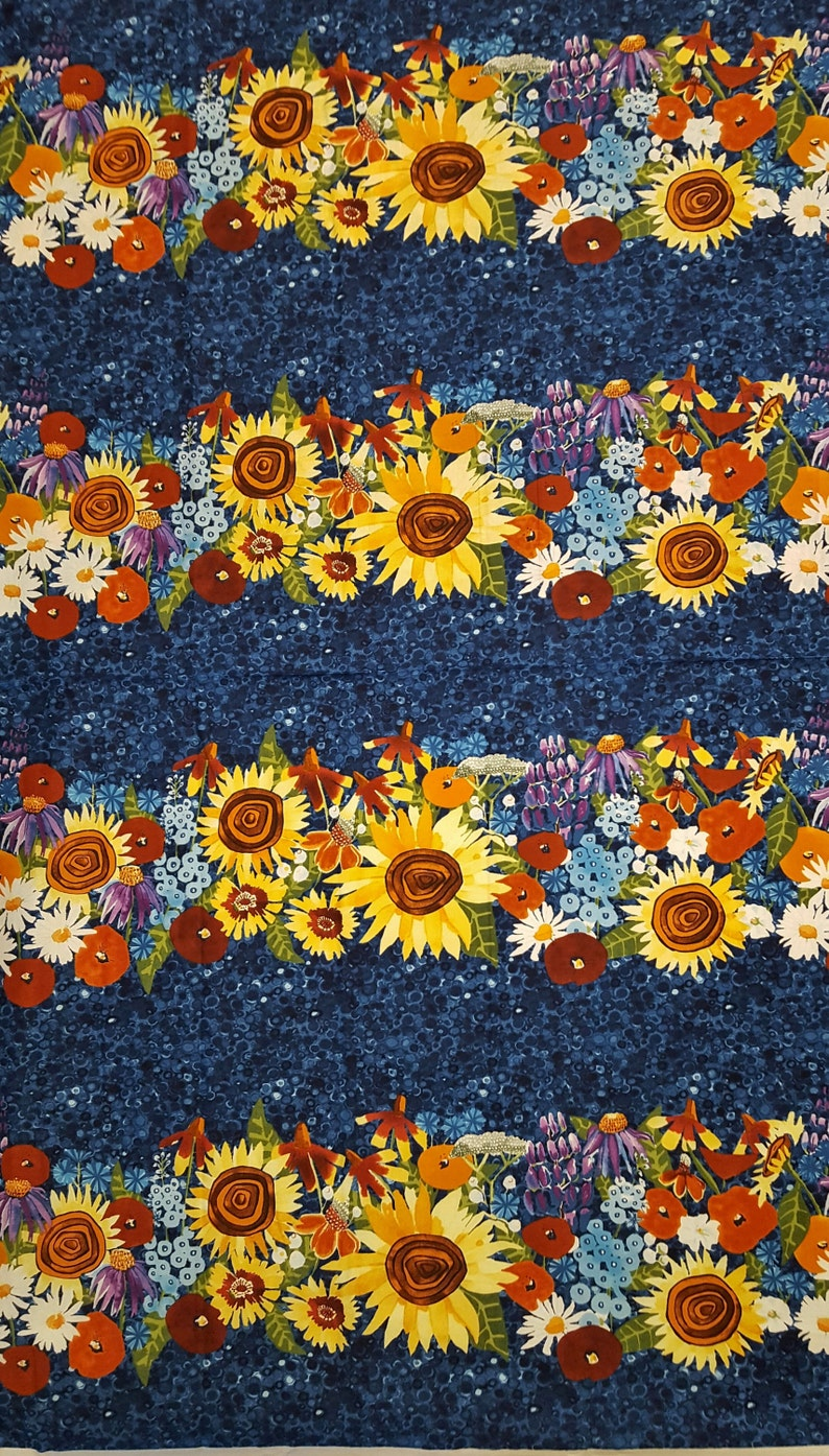 12b1da47951 Cotton Fabric MY SUNSHINE Sunflower Daisies Bright Color