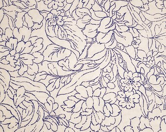 "Cotton Fabric Monochrome Sapphire Blue Floral on White 27"" x 44"" Royal Blue Bright Color Excellent Fabric for Creative Genius Projects"