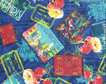 Cotton Flannel Fabric Bon Voyage HALF YARD San Francisco Paris Stamps Red Blue Floral Craft quilt Fun Fabric Creative Genius Projects mdF002