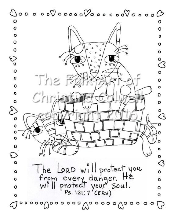 Adultos para colorear página gatos jugando en cesta descargar | Etsy