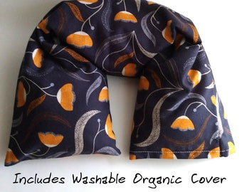 Organic Heat Pack, Heating pad, washable cover, Flax Neck Warmer, Organic gift, Hostess gift, Microwavable pillow, Flaxseed pillow