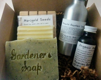 Gardening Gift Set   Gift For Gardener   Mosquito Repellent, Rosemary Soap,  Garden Goodies