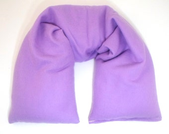 Lavender Microwave Heating Pad - Organic cotton flannel - Flax Seed Heat Pack - Hot Cold Flax Neck Pillow - Neck Wrap